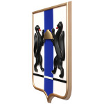 Геральдический щит Новосибирской области, пластик/мдф, 42x50 см