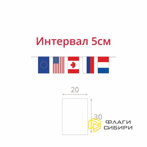 """Гирлянда """"Флажки стран"""", 20*30см, шаг 5см (4 флага на 1мп)"""