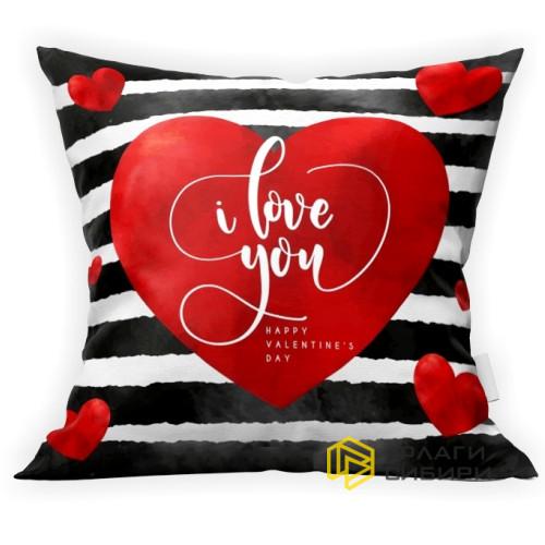"""Подушка ко дню влюбленных """"I love you"""""""