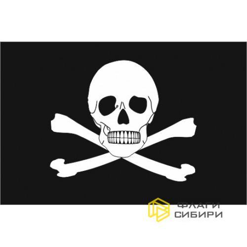 Пиратский флаг, черный с черепом и костями
